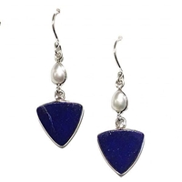 Sterling Silver Drop Earrings- Afghani Lapis Lazuli & Freshwater Pearl