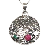 Sterling Silver Pendant/Necklace- Ruby & Emerald