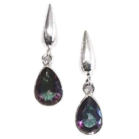 Sterling Silver Post Dangle Earrings- Mystic Topaz