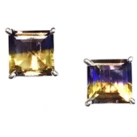 Sterling Silver Post Earrings - Ametrine