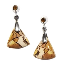 Sterling Silver Post Dangle Earrings- Brecciated Mookaite