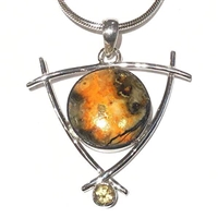 Sterling Silver Pendant- Bumble Bee Agate