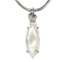 Sterling Silver Pendant/Necklace- Faceted Rainbow Moonstone