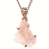 Rose Gold Filled Pendant- Rough Cut Morganite