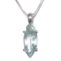 Sterling Silver Aquamarine Pendant- March Birthstone