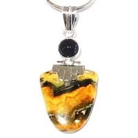 Sterling Silver Pendant- Bumble Bee Agate & Black Onyx