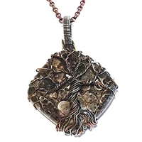 Mixed Metal Wire Wrapped Pendant- Turtella Jasper Tree of Life