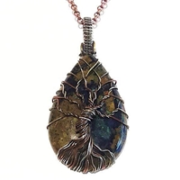 Mixed Metal Wire Wrap Pendant- Boulder Azurite Tree of Life