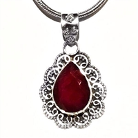 Sterling Silver Pendant- Ruby