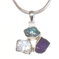 Sterling Silver Pendant- Rough Cut Tanzanite, Moonstone & Apatite