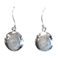 Sterling Silver Dangle Earrings- Rainbow Moonstone