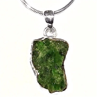 Sterling Silver Pendant- Rough Cut Emerald