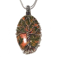 Mixed Metal Wire Wrapped Tree of Life Pendant- Unakite Jasper