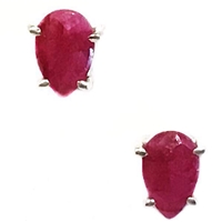 Sterling Silver Ruby Post Earrings--July Birthstone