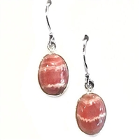 Sterling Silver Dangle Earrings- Rhodochrosite
