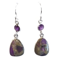 Sterling Silver Dangle Earrings-Amethyst with Pyrite