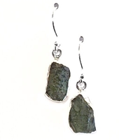 Sterling Silver Dangle Earrings- Moldavite