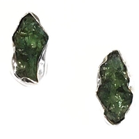 Sterling Silver Post  Earrings- Moldavite