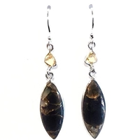 Sterling Silver Dangle Earrings- Black Turquoise with Shell & Citrine