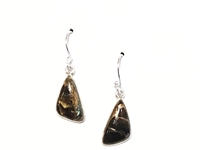 Sterling Silver Dangle Earrings- Black Turquoise with Shell