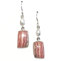 Sterling Silver Dangle Earrings- Rhodochrosite & Freshwater Pearl