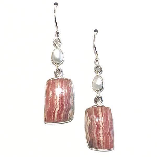 Rhodochrosite and Conch Shell Earrings!