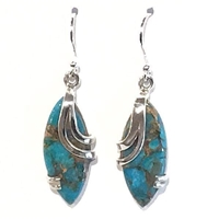 Sterling Silver Dangle Earrings- Turquoise with Copper