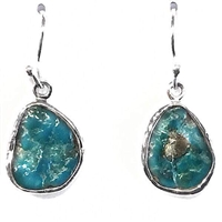Sterling Silver Dangle Earrings- Rough Cut Turquoise