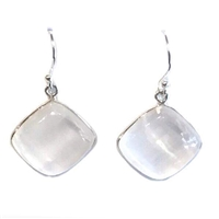 Sterling Silver Dangle Earrings- Selenite