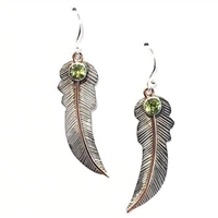 Sterling Silver & Copper Dangle Earrings- Peridot