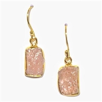 Gold Filled Dangle Earrings- Rough Cut Morganite