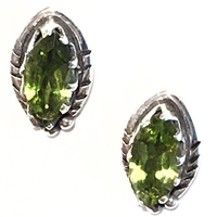 Sterling Silver Post Earrings- Peridot