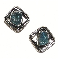 Sterling Silver Post Earrings- Rough Cut Apatite