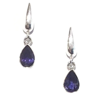 Sterling Silver Post Dangle Earrings- Iolite