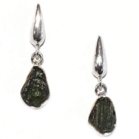 Sterling Silver Post Dangle Earrings- Moldavite