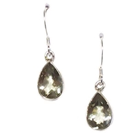 Sterling Silver Dangle Earrings- Green Amethyst