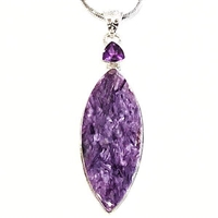 Sterling Silver Pendant- Charoite & Amethyst