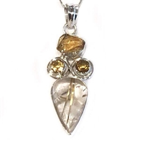 Sterling Silver Pendant/Necklace- Rutilated Quartz & Citrine
