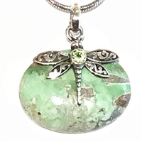 Sterling Silver Dragonfly Pendant- Variscite & Peridot