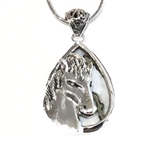 Sterling Silver Horse Head Pendant/Necklace- Owyhee Opal