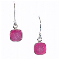 Sterling Silver Dangle Earrings- Pink Aura Druzy