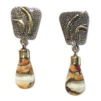 2 Tone Post Dangle Earrings- Spiny Oyster