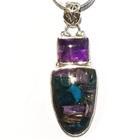 Sterling Silver Pendant- Charoite in Chrysocolla & Amethyst