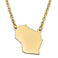 Wisconsin (or ANY State) Necklace- Gold Filled