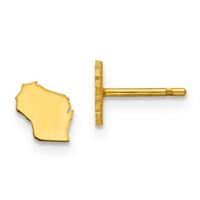 Wisconsin-(or ANY State) - Large Gold Plated Post Earrings