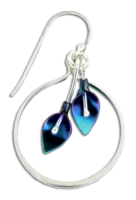 "Dangle ""Lily Wreath"" Earrings- Sterling Silver & Niobium"