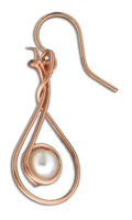 """Hanging Pearl"" Earrings- Rose Gold Fill"