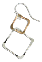 """Married Squares"" Earrings-  Sterling Silver & Gold Filled"
