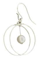 "Sterling Silver ""Double Wheel"" Earrings with White Freshwater Pearls"
