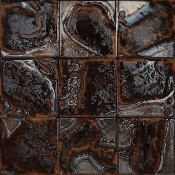 Bristol Studios Midnight G Polynesian Lava X Hand - Decorative 4x4 metal tiles
